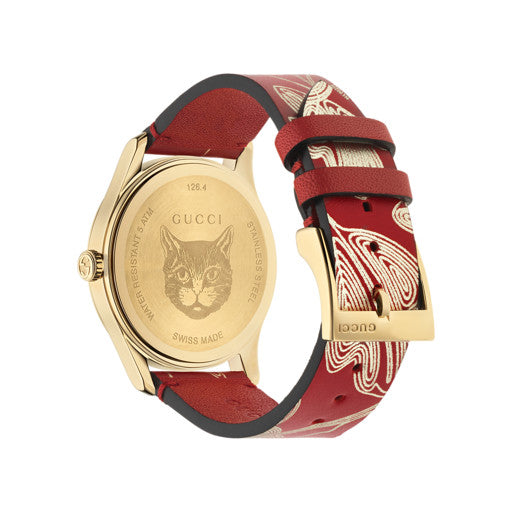 Gucci G-Timeless Butterfly Red Leather Ladies Watch YA1264054