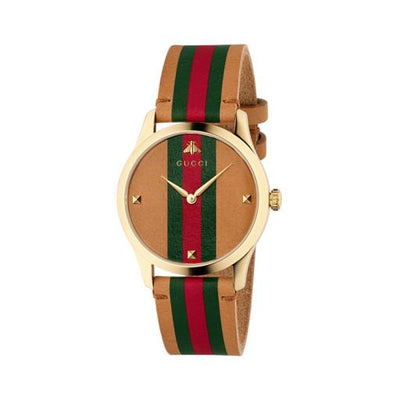 Gucci G-Timeless Stripe Tan Leather Watch YA1264077