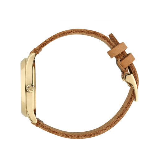 Gucci G-Timeless Stripe Tan Leather Unisex Watch YA1264077