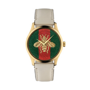 Gucci G-Timeless Bee Motif Cream Unisex Watch YA1264128