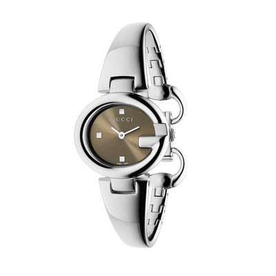 Gucci Guccissima Brown Dial 27mm Steel Ladies Watch YA134503