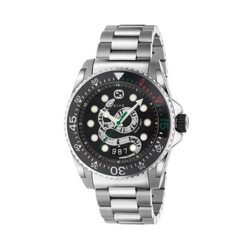 Gucci Dive Snake Dial Stainless Steel Mens Watch YA136218