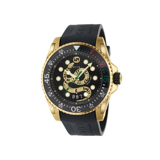 Gucci Dive Black Snake Dial Gold Mens Watch YA136219