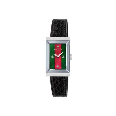 Gucci G-Frame Black Leather Ladies Watch YA147403