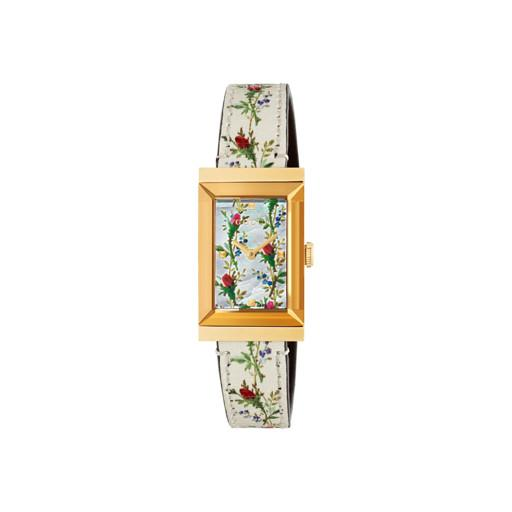 Gucci G-Frame Floral Leather Ladies Watch YA147407