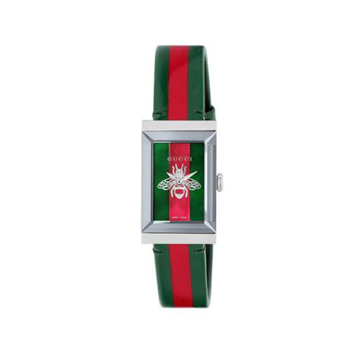 Gucci G-Frame Striped Leather Ladies Watch YA147408