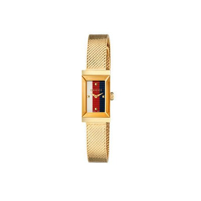 Gucci G-Frame Stripe Dial Gold Ladies Watch YA147511