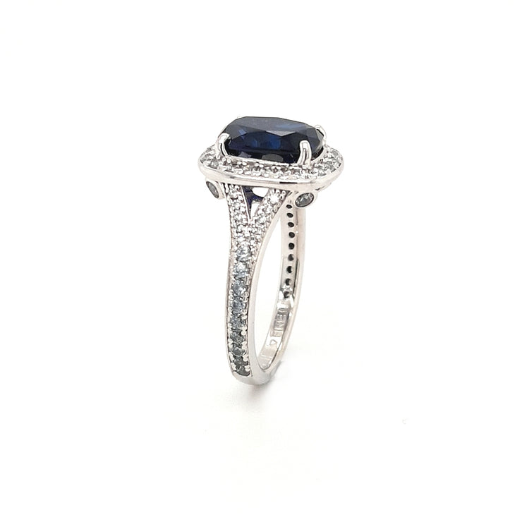 Silver and Blue CZ Halo Ring