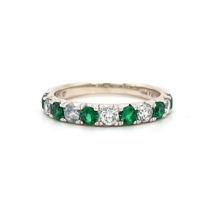 Silver and Green CZ Eternity Ring