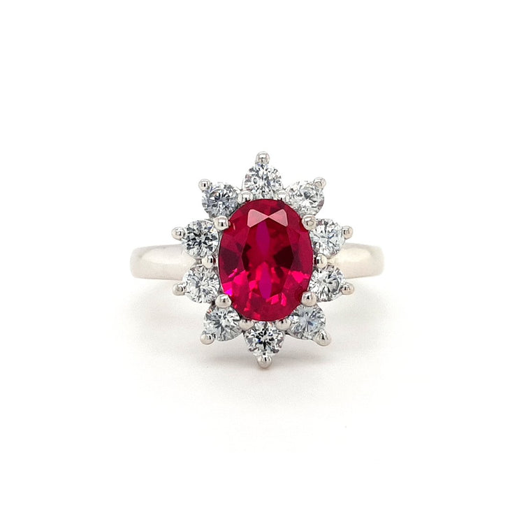 Silver and Red CZ Cluster Ring