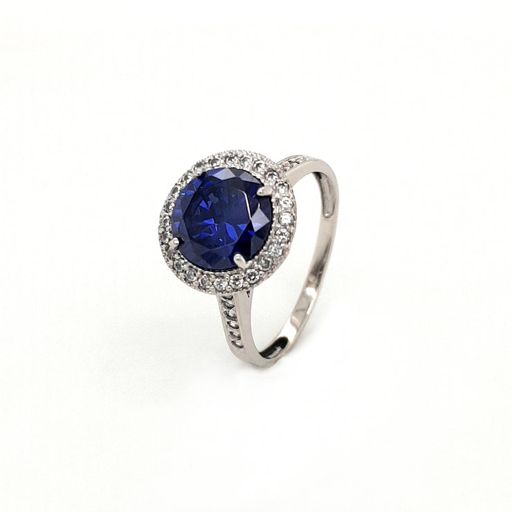 Silver and Blue Round CZ Halo Ring