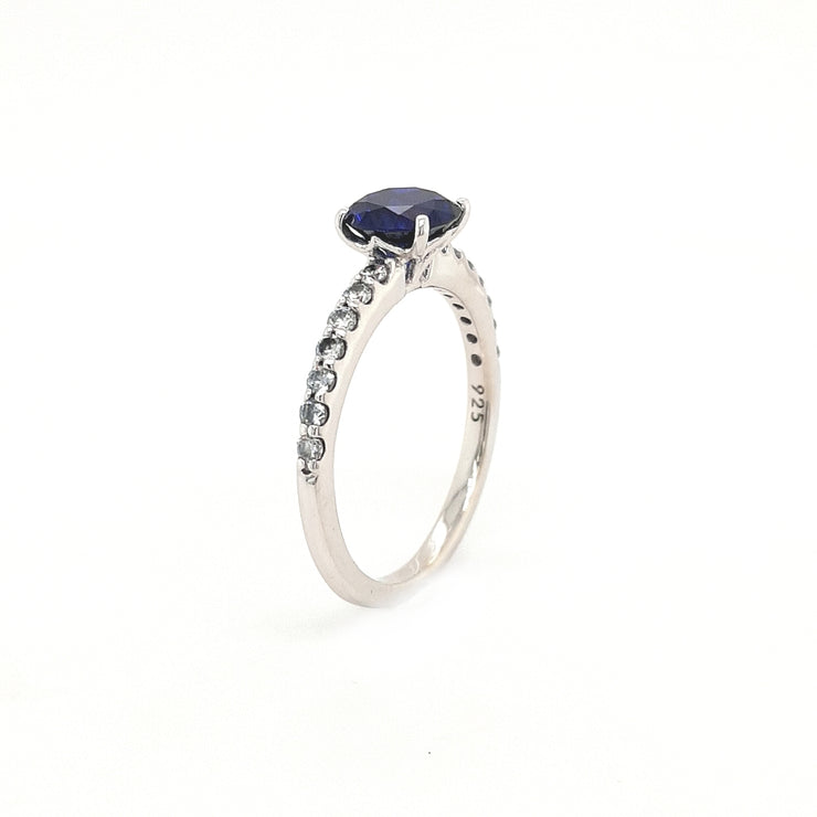 Silver and Blue Round CZ Ring