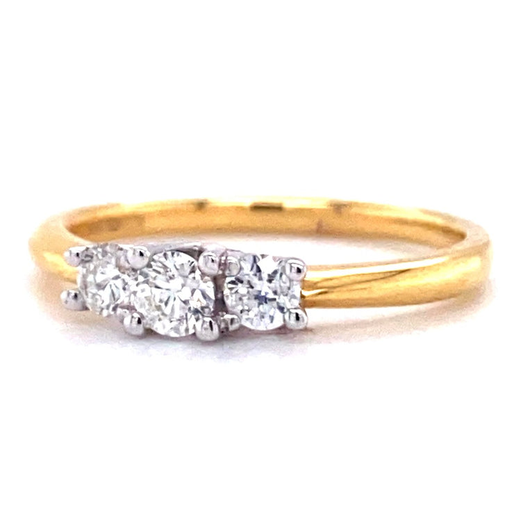 18ct Yellow Gold Three Stone 0.33ct Engagement Ring