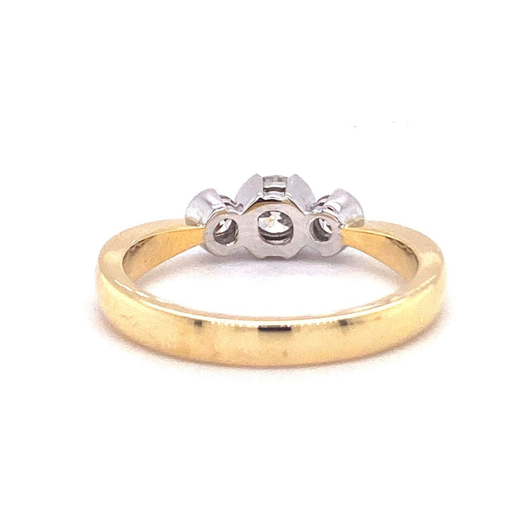 18ct Yellow Gold Rubover Three Stone Engagement Ring