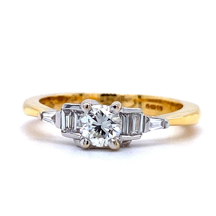 18ct Gold Round and Emerald Cut Diamond Engagement Ring
