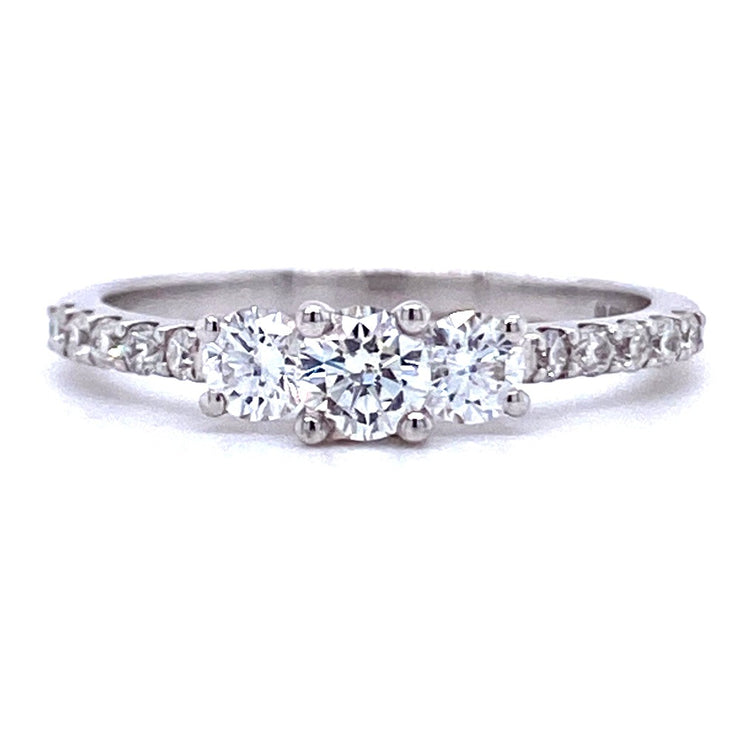 18ct White Gold Three Stone with Diamond Shoulders Engagement Ring