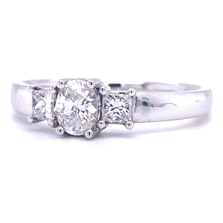 18ct White Gold Oval and Princess Cut Engagement Ring