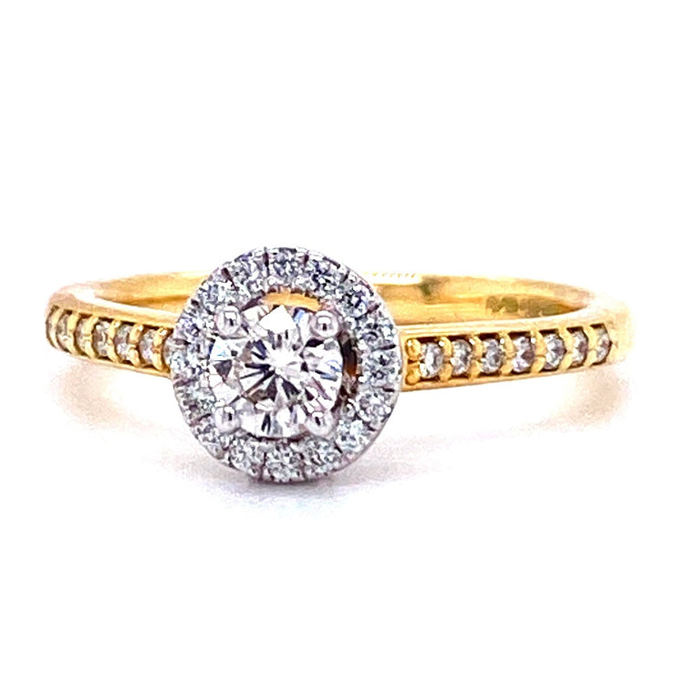 18ct Yellow Gold Round Halo Engagement Ring