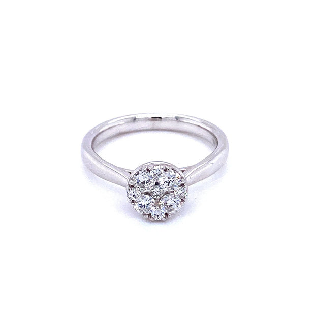 18ct White Gold Cluster 0.50ct Engagement Ring