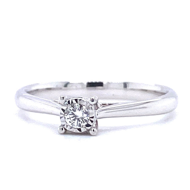 18ct White Gold Illusion Set Solitaire Engagement Ring