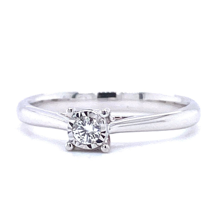 9ct White Gold Illusion Set Solitaire Engagement Ring