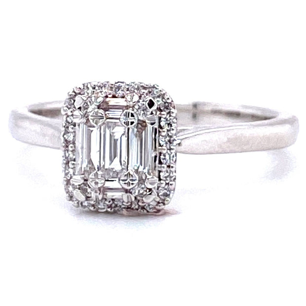 18ct White Gold Emerald Cut Halo Engagement Ring