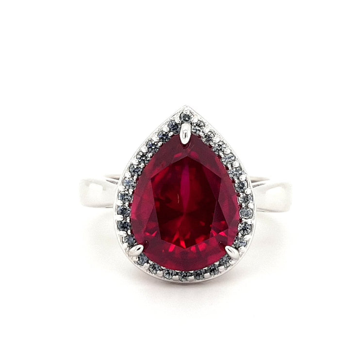 Silver and Red Pear CZ Ring