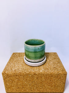 "3"" Minute Pot & Saucer Green Cement"