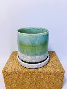 "5"" Minute Pot & Saucer Green Cement"
