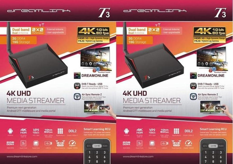 { PACKAGE OF 2 } DREAMLINK T3 ULTIMATE 4K UHD 2GB DDR4 + 16GB | DUAL BAND GIGABIT WIFI & LAN + FREE EXTRA REMOTE - Dreamlink Formuler Store - Products Online Shopping in USA & Canada