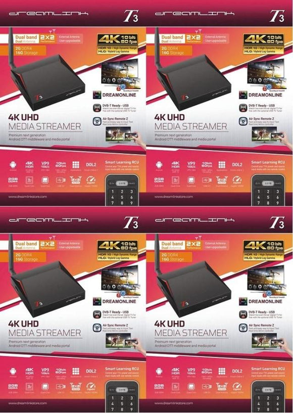 { PACKAGE OF 4 } DREAMLINK T3 ULTIMATE 4K UHD 2GB DDR4 + 16GB | DUAL BAND GIGABIT WIFI & LAN + FREE EXTRA REMOTE