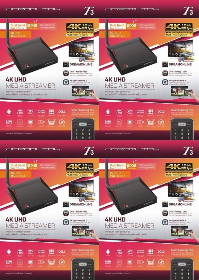 { PACKAGE OF 4 } DREAMLINK T3 ULTIMATE 4K UHD 2GB DDR4 + 16GB | DUAL BAND GIGABIT WIFI & LAN + FREE EXTRA REMOTE - Dreamlink Formuler Store - Products Online Shopping in USA & Canada
