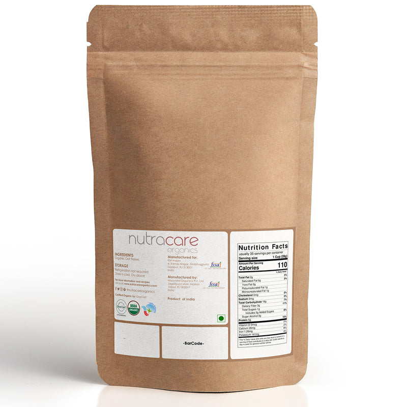 NutraCare Organics Oat Flakes Pouch, 1 kg