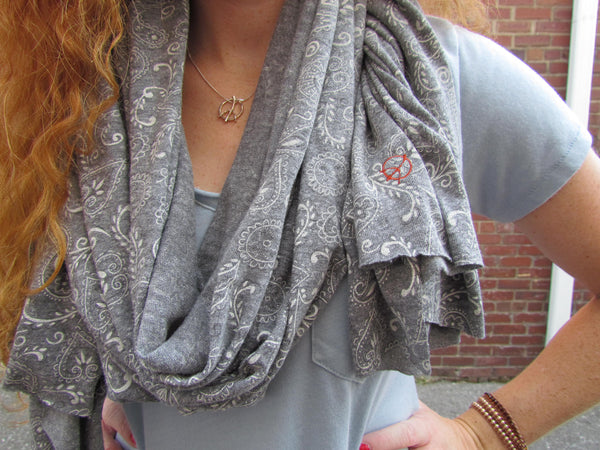 Grey Bandana with Peace Sign embroidery