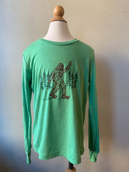 Youth- Bigfoot Giving a Peace Sign - Long Sleeve