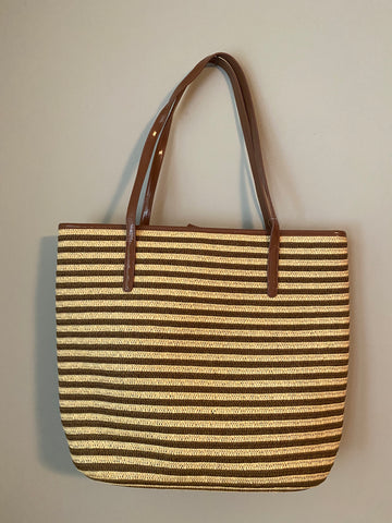 Straw Stripped Tote/Beach Bag