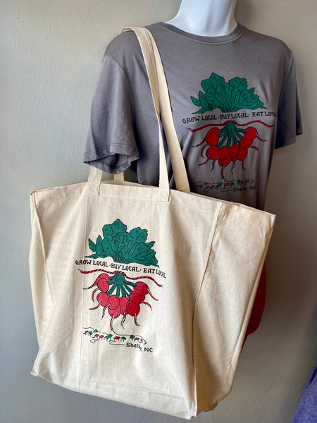 Cotton Market Tote - Grow Buy Eat LOCAL
