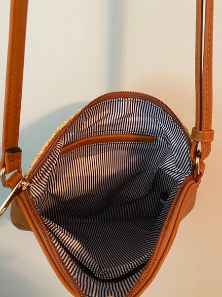 Woven Straw Dome Crossbody Bag