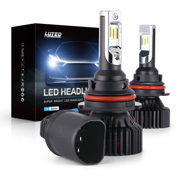 9004(HB1) LED Headlight Bulbs Conversion Kit Y8 Series ZES Chips Extremely Bright 6500K Xenon White - 8000 Lumens/Set