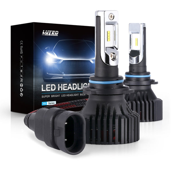 9006(HB4) LED Headlight Bulbs Conversion Kit Y8 Series ZES Chips Extremely Bright 6500K Xenon White - 8000 Lumens/Set