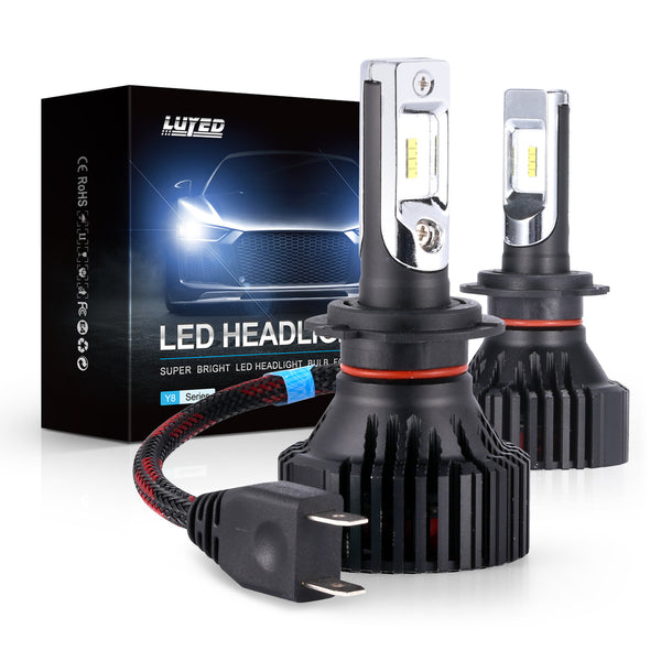 H7 LED Headlight Bulbs Conversion Kit Y8 Series ZES Chips Extremely Bright 6500K Xenon White - 8000 Lumens/Set