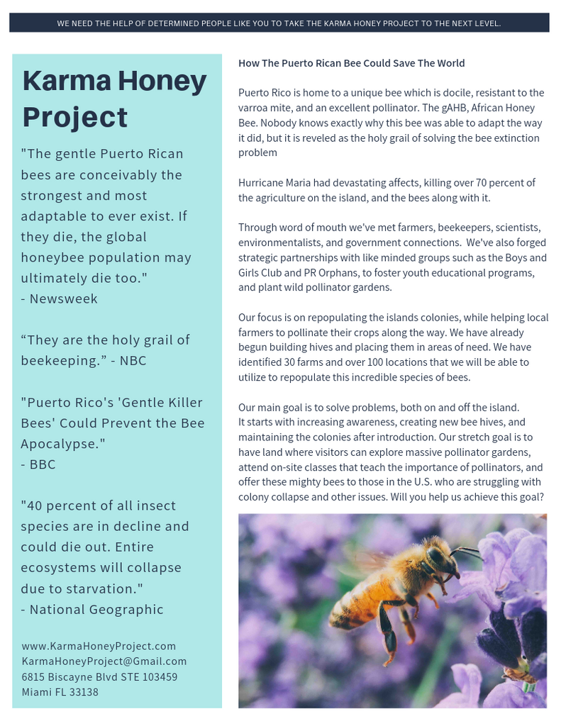 more about the karma honey project in florida and puerto rico