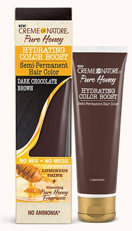 CREME OF NATURE PURE HONEY HYDRATING COLOR BOOST SEMI-PERMANENT HAIR COLOR - DARK CHOCOLATE