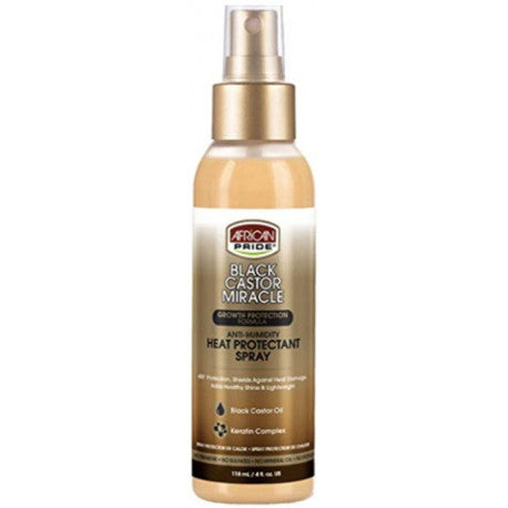 AFRICAN PRIDE BLACK CASTOR MIRACLE ANTI-HUMIDITY HEAT PROTECTANT SPRAY 118 ML
