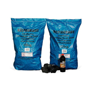 2x Charcoal (12kg Bags) and 1x Lighter Fluid (1 Litre)