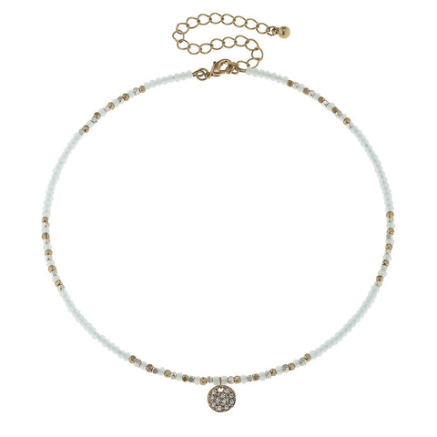 Canvas Jewelry 'Glass Bead Pave Disc Memory Choker' - Aqua