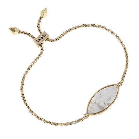 Canvas Jewelry 'Bolo' Chain Bracelet- White Howlite/Gold