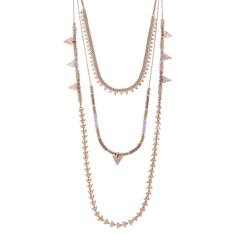 Canvas Jewelry '3 Row Triangle Bead' Necklace - Rose Gold/Lavender