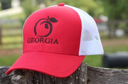 buy online 3f5a4 99305 ... best price peach state pride georgia mesh back trucker hat red and  white 2e100 db576