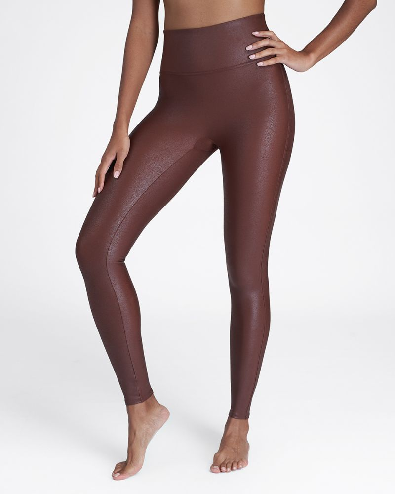 Spanx Faux Leather Leggings - Mahogany